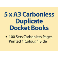 5 x A3 Carbonless Duplicate Books in 100 sets