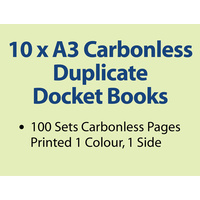 10 x A3 Carbonless Duplicate Books in 100 sets