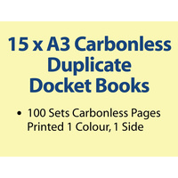15 x A3 Carbonless Duplicate Books in 100 sets
