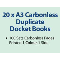 20 x A3 Carbonless Duplicate Books in 100 sets