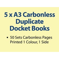 5 x A3 Carbonless Duplicate Books in 50 sets