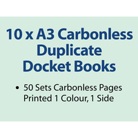 10 x A3 Carbonless Duplicate Books in 50 sets