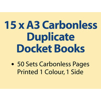 15 x A3 Carbonless Duplicate Books in 50 sets