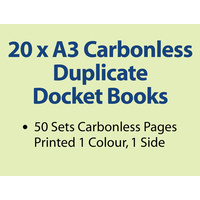 20 x A3 Carbonless Duplicate Books in 50 sets