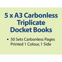 5 x A3 Carbonless Triplicate Books in 50 sets