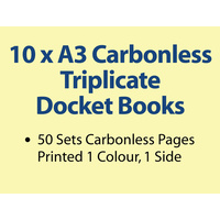 10 x A3 Carbonless Triplicate Books in 50 sets