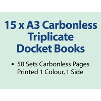 15 x A3 Carbonless Triplicate Books in 50 sets