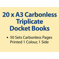 20 x A3 Carbonless Triplicate Books in 50 sets