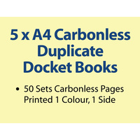 5 x A4 Carbonless Duplicate Books in 100 sets