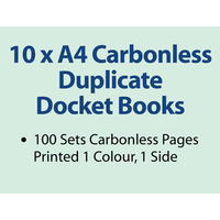 10 x A4 Carbonless Duplicate Books in 50 sets