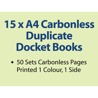 15 x A4 Carbonless Duplicate Books in 50 sets