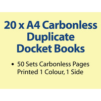 20 x A4 Carbonless Duplicate Books in 50 sets