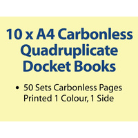 10 x A4 Carbonless Quadruplicate Books in 50 sets