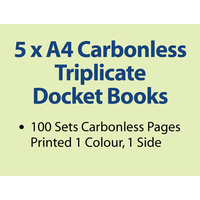 5 x A4 Carbonless Triplicate Books in 50 sets