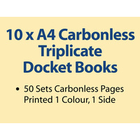 10 x A4 Carbonless Triplicate Books in 50 sets