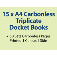 15 x A4 Carbonless Triplicate Books in 50 sets