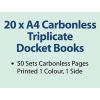 20 x A4 Carbonless Triplicate Books in 50 sets
