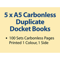 5 x A5 Carbonless Duplicate Books in 100 sets
