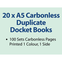 20 x A5 Carbonless Duplicate Books in 100 sets