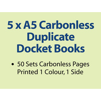 5 x A5 Carbonless Duplicate Books in 50 sets