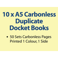 10 x A5 Carbonless Duplicate Books in 50 sets