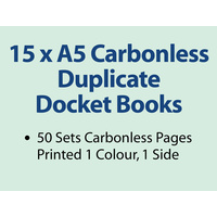 15 x A5 Carbonless Duplicate Books in 50 sets