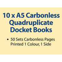 10 x A5 Carbonless Quadruplicate Books in 50 sets