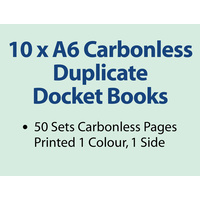 10 x A6 Carbonless Duplicate Books in 50 sets