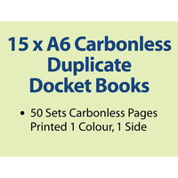 15 x A6 Carbonless Duplicate Books in 50 sets