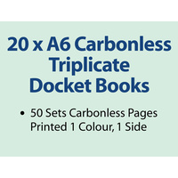 20 x A6 Carbonless Triplicate Books in 50 sets