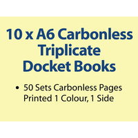 10 x A6 Carbonless Triplicate Books in 50 sets