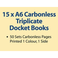15 x A6 Carbonless Triplicate Books in 50 sets