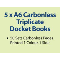 5 x A6 Carbonless Triplicate Books in 50 sets