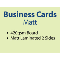1,000 x Business Cards - 420gsm - Matt Lamination 2 sides