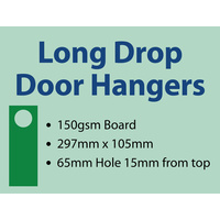 1,000 x Long-drop Door Hangers - 150gsm