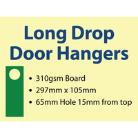 1,000 x Long-drop Door Hangers - 310gsm