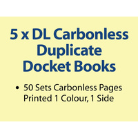 5 x DL Carbonless Duplicate Books in 50 sets