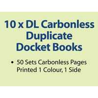 10 x DL Carbonless Duplicate Books in 50 sets