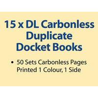 15 x DL Carbonless Duplicate Books in 50 sets