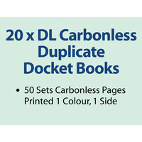 20 x DL Carbonless Duplicate Books in 50 sets