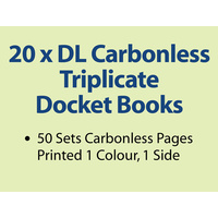 20 x DL Carbonless Triplicate Books in 50 sets