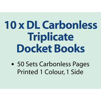 10 x DL Carbonless Triplicate Books in 50 sets