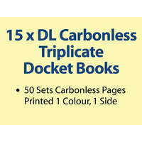 15 x DL Carbonless Triplicate Books in 50 sets