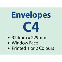 2,000 x C4 Window Envelope 229x324 mm - 1 or 2 colours