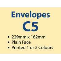 1,000 x C5 Plain Envelope 229x162 mm - 1 or 2 colours