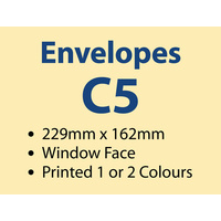 5,000 x C5 Window Envelope 229x162 mm - 1 or 2 colours