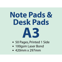 100 x A3 Desk Pads - 50 pages