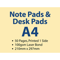 100 x A4 Note Pads - 50 pages