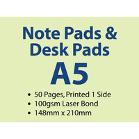 100 x A5 Note Pads - 50 pages