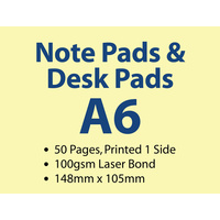50 x A6 Note Pads - 50 pages